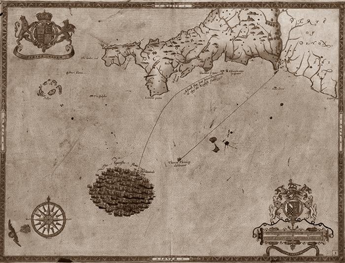 מפה מתוך סדרה המתארת את מהלך הקרבות הימיים בין הארמדה הספרדית והצי האנגלי. אפשר לראות את ספינות הארמדה מצטופפות לקראת יציאתן לדרך. מצאתי באתר של נאסא.